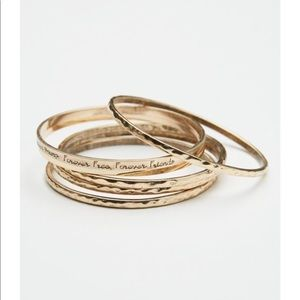 Free People Gold Scripted Bangles Set of 6 NIP
